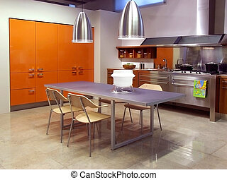 modern, konyha, építészet