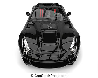 modern, lövés, fényes, autó, tető, első lámpa, -, sport, lefelé, fekete, closeup, átváltható, szuper