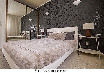 modern, lakályos, ágy, hálószoba