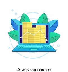 Modern laptop and a line graph with coins flat vector.