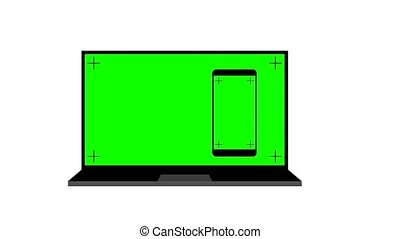 Modern laptop and smartphone with green screen. Animation on white background. chroma key and alpha channel.