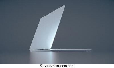 Modern laptop animation. Highly detailed aluminum laptop animation.