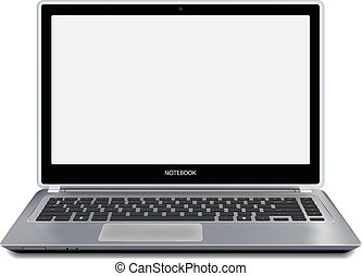 Modern laptop computer with empty screen. Vector.