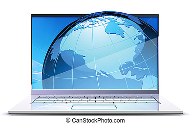 modern laptop - Vector illustration of modern laptop with...