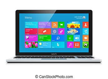 Modern laptop - Modern business office portable laptop,...