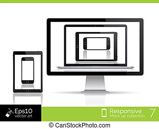 Modern laptop, glossy tablet and smartphone isolation of computer with mouse. EPS 10 illustration