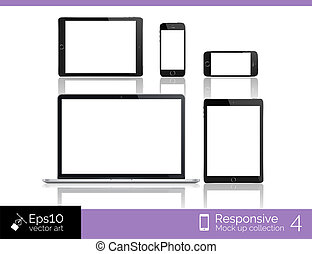 Modern laptop, glossy tablet and smartphone isolation with computer mouse. EPS 10 illustration