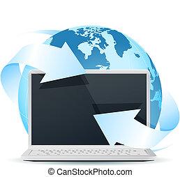 modern, laptop, mit, erdeglobus, freigestellt, weiß