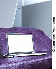 Modern laptop on the stylish sofa. 3d rendering