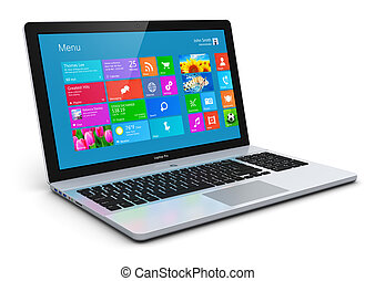 Modern laptop - Modern business office portable laptop,...