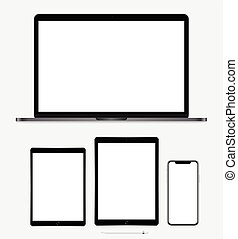 Modern laptop, tablet, mobile and pencil