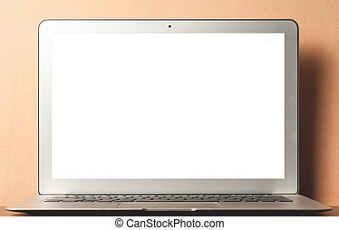 Modern laptop with blank screen.