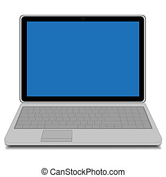 Modern laptop with blue screen