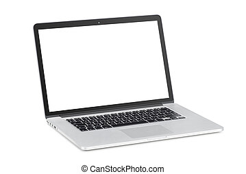 Modern laptop with tilted back white monitor - Rotated at a...