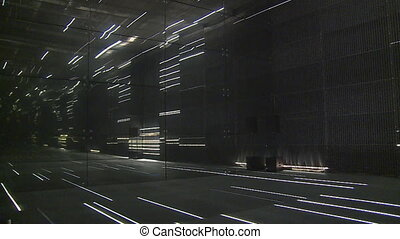 modern laser lights room in exhibition pavilion. timelapse -...