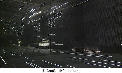modern laser lights room in exhibition pavilion. timelapse -...