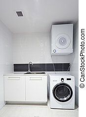 Laundry room in new appartment.