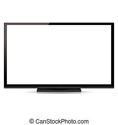 modern, leer, flachbildfernseher, freigestellt, weiß,...