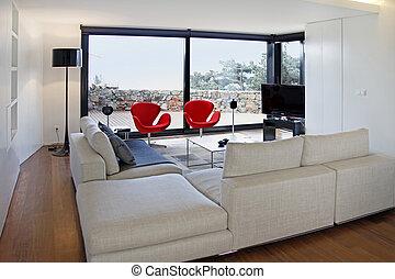 modern leven, kamer, met, tv, uitrusting