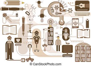 Modern Library - vector illustration on white background.