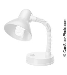 Modern light and economical lamp. On a white background.