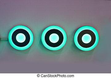 Modern light blue power on button