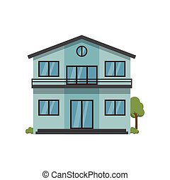 Modern light blue two-story house with balcony trough second...