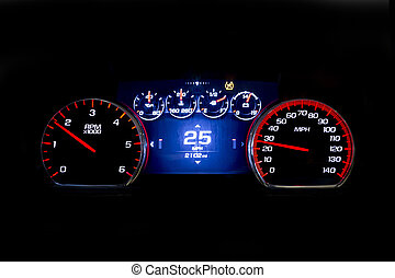 Modern light car mileage on black background 25 mph