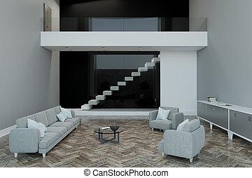 modern light room with blank slab