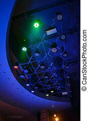 Modern lighting equipment in the exhibition lighting ...