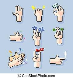 Modern Line Art Cartoon Hand Gesture