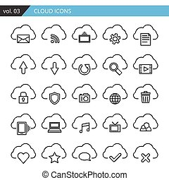 Modern line cloud icons set. Premium quality isolated vector.