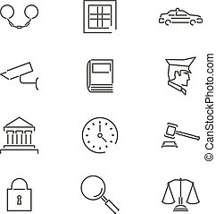 Modern Line Law Legal Justice Icons and Symbols Set for Mobile Interface Isolated Vector Illustration