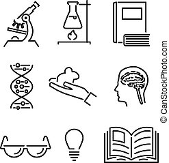 Modern Line Science Knowledge Study Icons and Symbols Set...