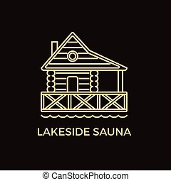 Modern Line Style Sauna Logotype Template. - Unique Line...