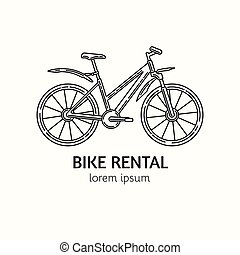 Modern Linear Style Bicycle Rental Logotype Template. - ...