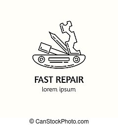 Modern Linear Style Bicycle Repair Logotype Template. - ...