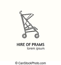 Modern Linear Style Hire of Prams Logotype Template. - ...