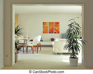 modern living an dining room with double door