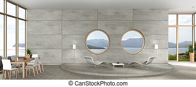 modern living and dining room in avant-garde architecture