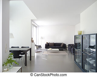 modern living and dining room interior - modern private...