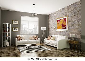 Modern living room 3d rendering - Modern living room...