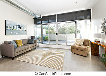 Modern living room and balcony - Living room with sliding ...