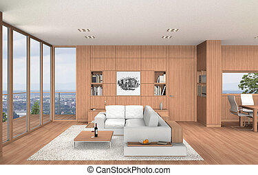 modern living room and dining room interior with beech wood...