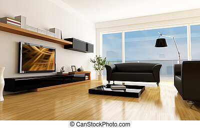 modern living room - black and white living room with lcd tv...