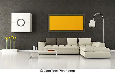 Modern living room - Brown and beige livingroom - rendering
