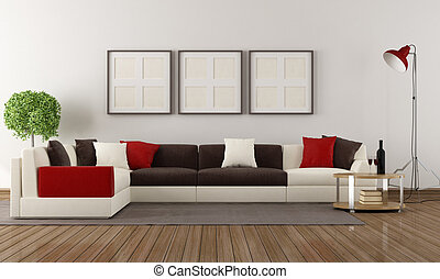 Modern living room - Corner sofa with colorful pillows in a...