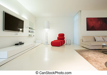 Modern living room design - Horizontal view of modern living...