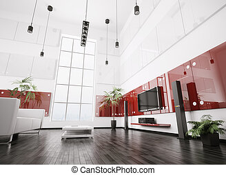 Modern living room interior 3d - Modern living room with...