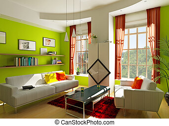 living room - modern living room interior (3D rendering)